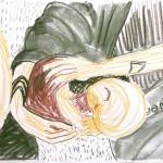 Lizz Sharr: Alla sover Kritteckning 58 cm x 42 cm 2013