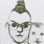 Lizz Sharr: kritteckning 58 cm x 42 cm 2013