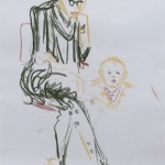 Lizz Sharr: Barnet i barnvagn Kritteckning 58 cm x 42 cm 2013