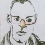 Lizz Sharr: Öra, näsa, mun kritteckning 58 cm x 42 cm 2013