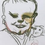Lizz Sharr: Barn med docka kritteckning 58 cm x 42 cm 2013